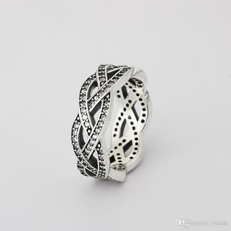 Um atacado 925 prata brilhante cz anel anel diamante fit pandora cúbico zirconia aniversário jóias para mulheres presente de natal