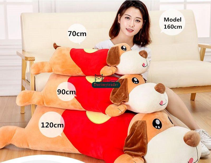 Dorimytrader New Giant Lying Cartoon Dog Stuffed Toy Lovely Soft Animal Dogs Doll Gift for Babies 70cm 90cm 120cm DY61739