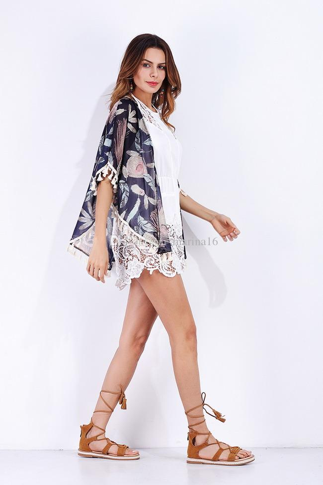 women chiffon cape blouse ponchos top Europe America street wear new arrival tassel design free size