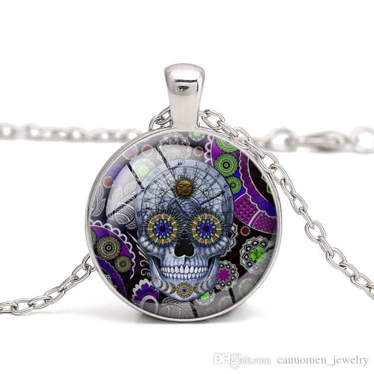 Skull Candy Pendant Necklace Gothic style Jewelry Glass Cabochon Skeleton Halloween Gift for Men and Women Handmade DIY Wholesale