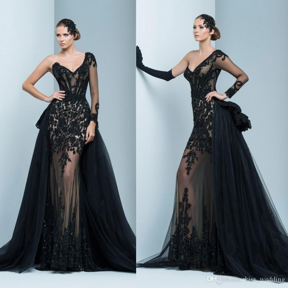 Exquisite Formal Evening Gowns One Shoulder Long Sleeves Party Prom ...
