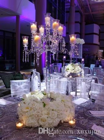 9 Arms 90cm 35.43inch Tall Crystal Candelabra Candle Holder Wedding ...