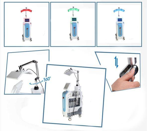 7 in 1 히드라 페이셜 머신 다이아몬드 미세 박피술 산소 스프레이 산소 인젝터 바이오 마이크로 류 피부 스크러버 PDT LED 가벼운 Hydrafacial