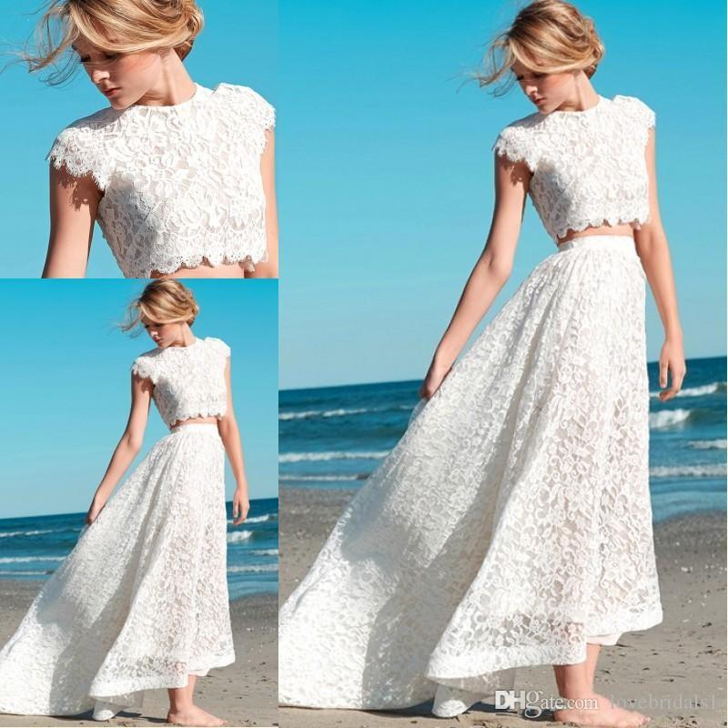 bf3b9d213566 Discount 2017 Sexy Two Piece Lace Wedding Dress With White Lace A Line Boho  Beach Wedding Guest Dress Christian Wedding Dresses Fitted Lace Wedding  Dresses ...