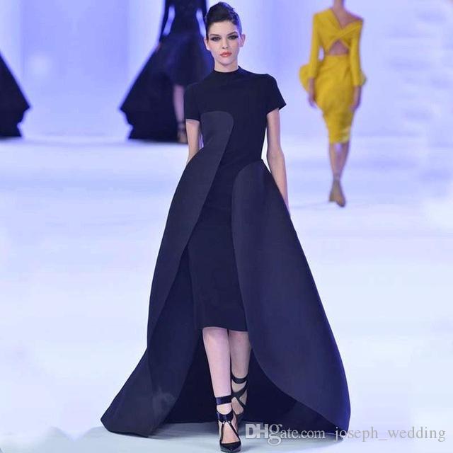 Yeni Varış Yüksek Boyun Abiye Çay Boyu 2017 Siyah Örgün Ünlü Elbise Son Kıyafeti Tasarım