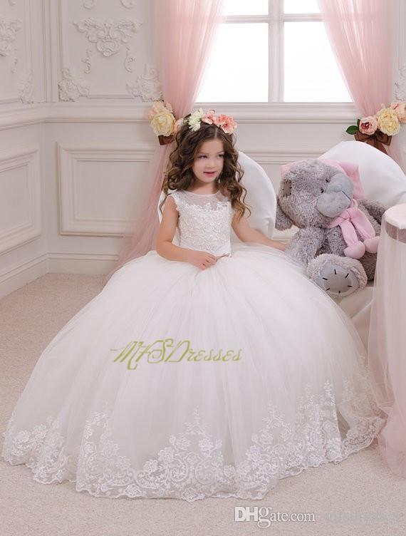 2017 Pretty Princess Girl Vestidos Niñas Puffy Primera Comunión Vestido de encaje vestido de bola Largo Flor Chica Vestidos Flower Girl Vestidos