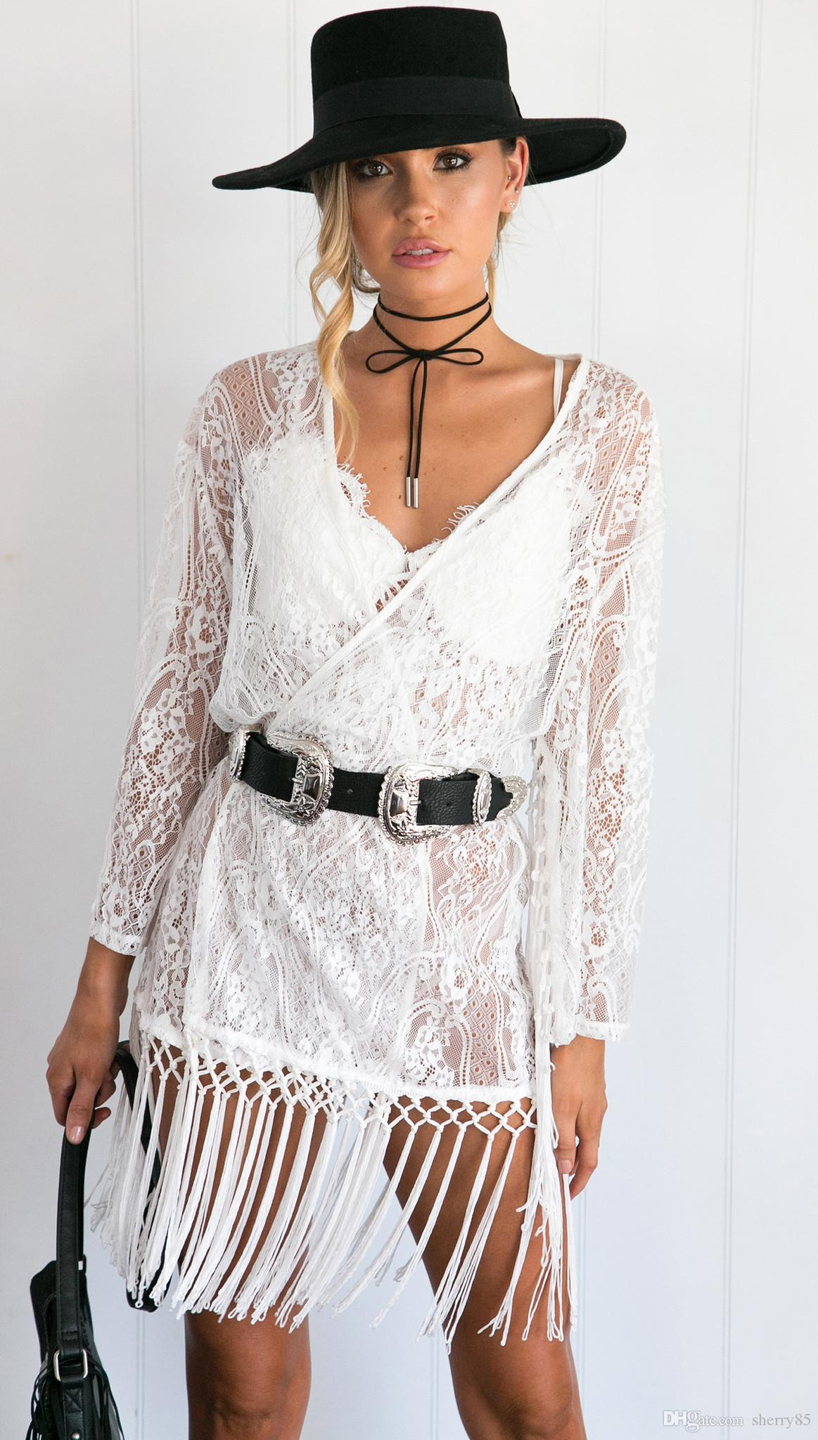 e3361251e6 2017 Newest Hot Women Sexy Lace Tassel Cover Up Sexy Hollow Crochet ...