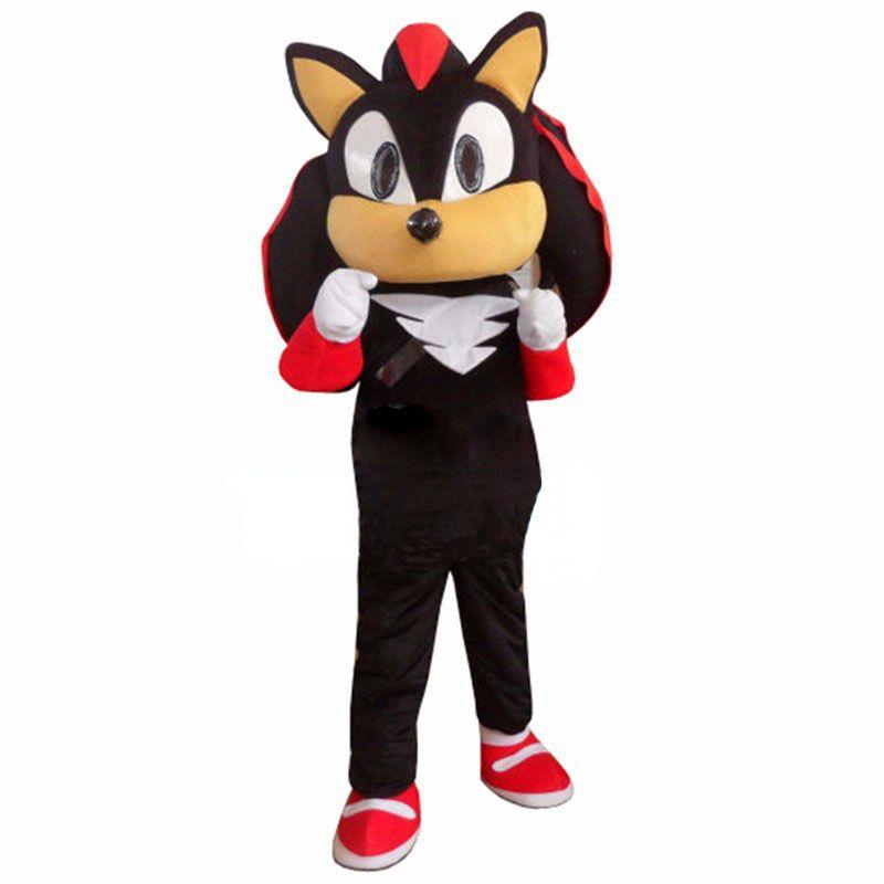 Shadow the Hedgehog Black Sonic Mascot Costume Fancy Dress Adult Free  Shipping
