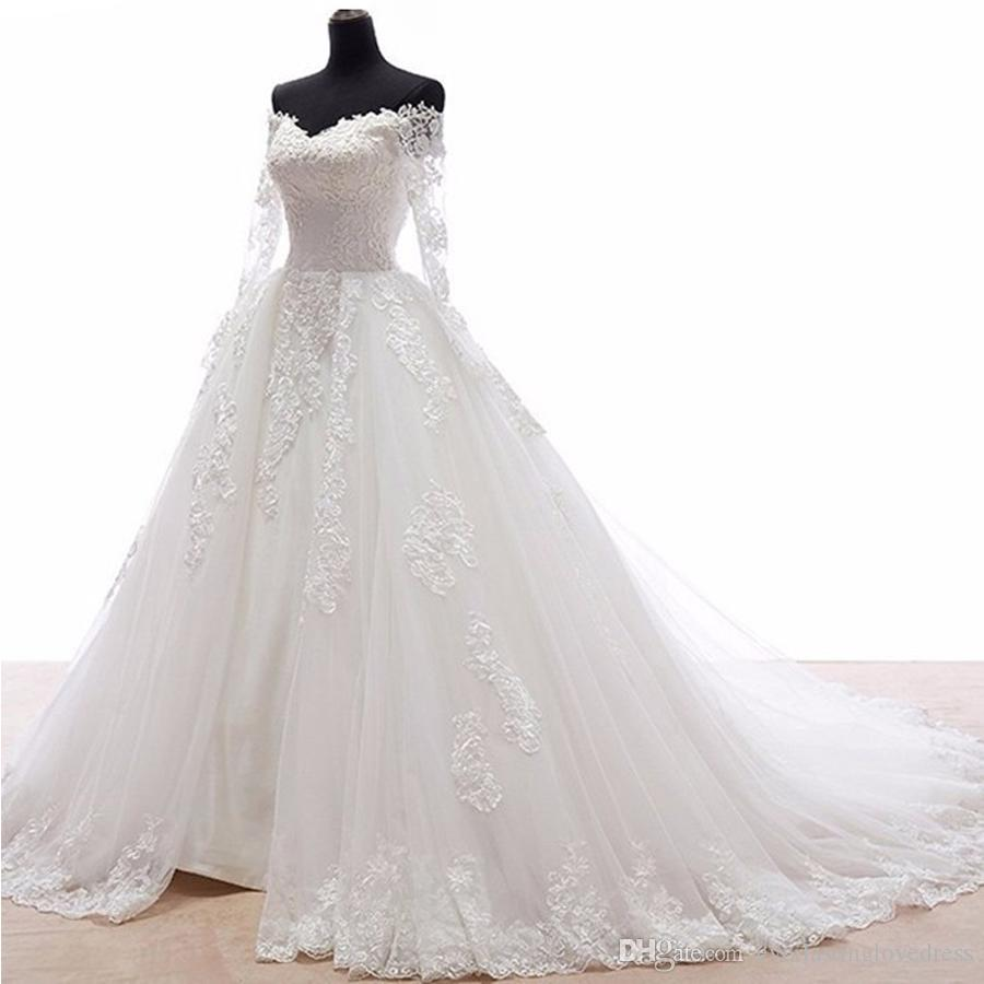 2fe7ec3a8b6 Fabulous Off Shoulder Court Train Long Sleeves Wedding Dress With Lace  Appliques Ball Gowns Applique Bridal Dress Illusion Back Corset For Wedding  Dress ...