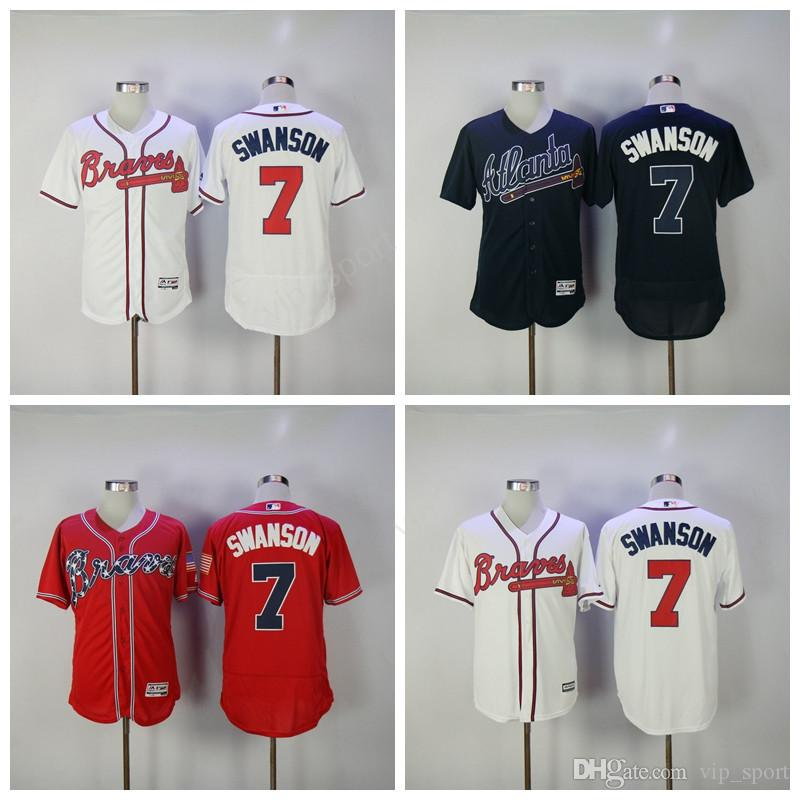 c825d6e4e ... 2017 2017 Baseball 7 Dansby Swanson Braves Jerseys Atlanta Men Flexbase Cool  Base Dansby Swanson Jersey White Dansby Swanson Authentic ...