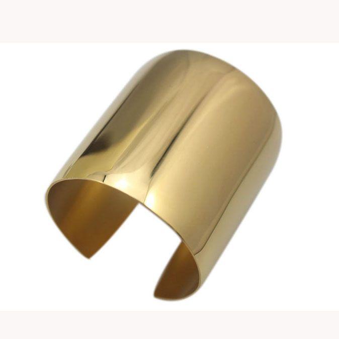 Gold Color Big Heavy Cuff Bracelets Bangles Titanium Stainless Steel Luxury Bracelet Stylish Shiny Women Bangles Latest Design