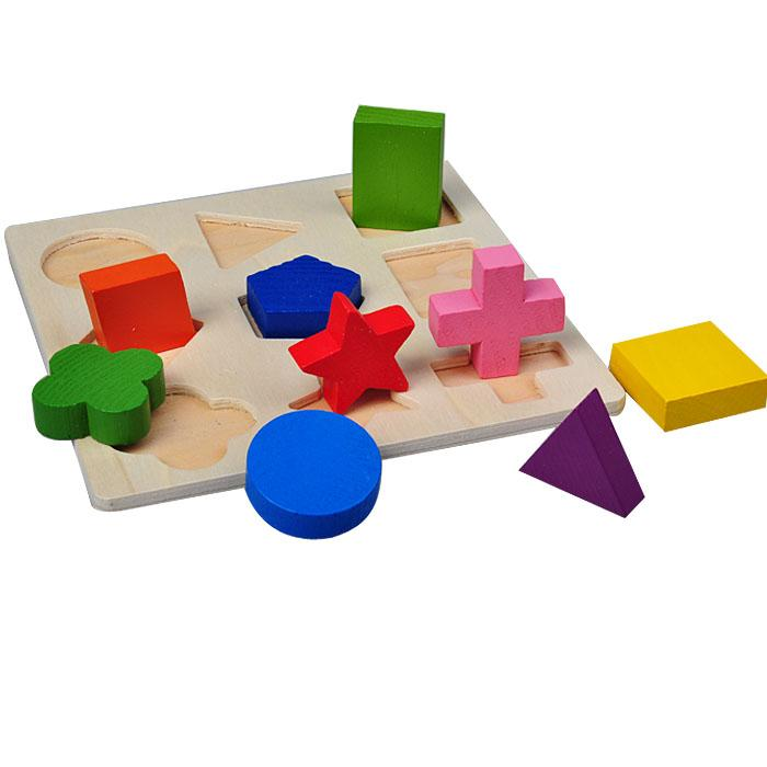 1 Set Baby Kids Wooden Learning Educational Toy Geometry Puzzle Montessori Early Toys