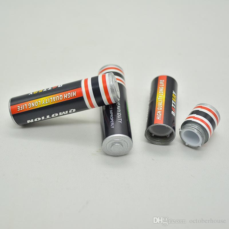 Secret Stash desvío píldora caja de la caja de la batería en forma de medio de almacenamiento Tamaño de la hierba del tabaco tarro Ocultos El recipiente 14 * 49 mm de aleación de zinc