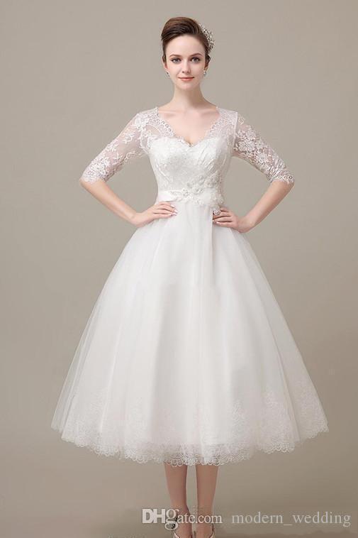 2017 Fantástico Agradável Com Decote Em V Branco Marfim Manga vestido de Baile Curto Vestido de Noiva Tea-Comprimento de Noiva Vestido de Renda Formal Estoque Vestido Frete Grátis