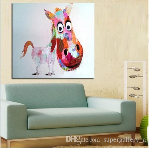 Framed Big Head Horse,Pure Hand Painted Modern Wall Decor Pop Cartoon Animal Art Oil Painting High Quality Canvas.Multi sizes Available a-me