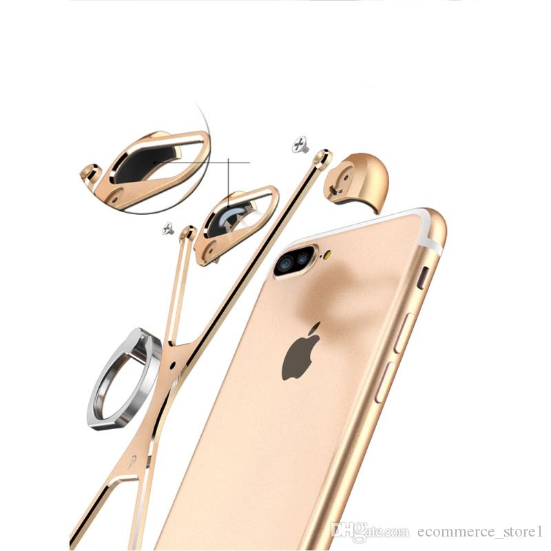 X Shape Case For Apple iPhone 7 Personality Shell for iPhone 6s Plus 7 Plus Metal Border Metal Bumper Ring Holder cases