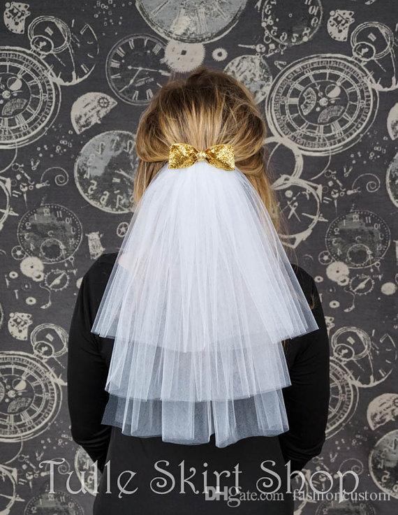 Ellenbogen Länge drei Schicht weiß Elfenbein Hochzeit Schleier Schnittkante Brautschleier Champagner mit Kamm