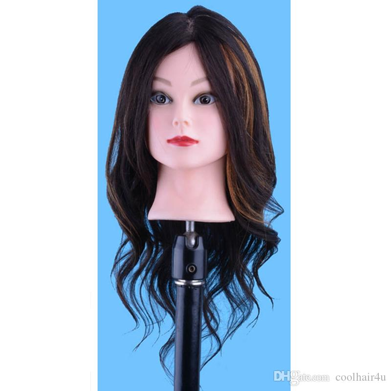 100%Human hair Hair Styling Mannequin Head For Training Professional Styling Head For Makeup Practice Hairdressing Doll Heads + Clamp