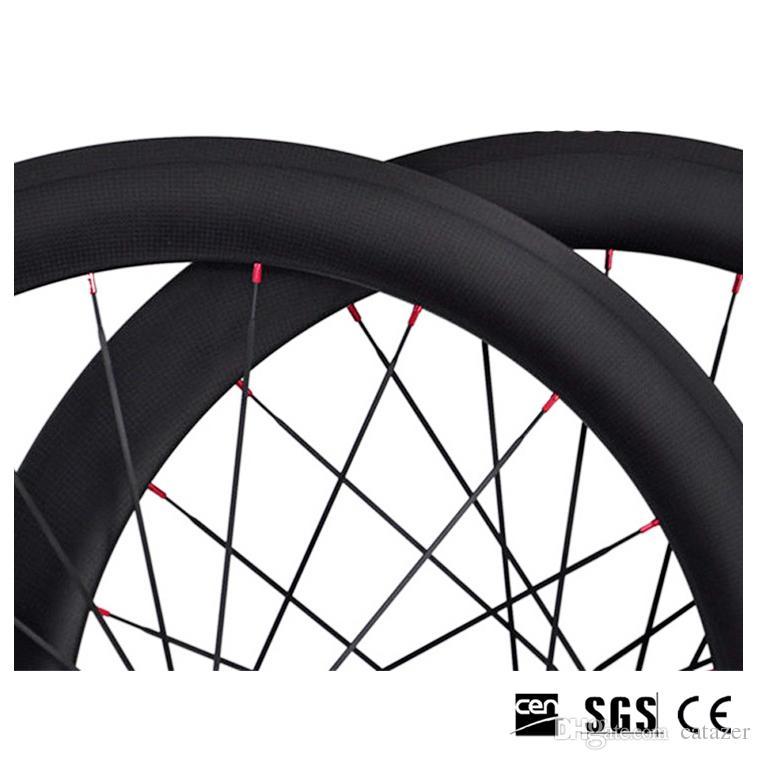 Completa De Fibra De Carbono Wheelset 700C 60mm Profundidade 23mm Largura 3 K Clincher Tubular Largura Brilhante Rodas De Carbono Fosco Com Novatec 271 Hubs