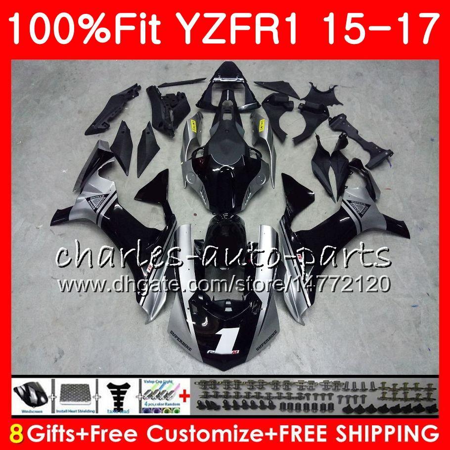 Injektionskropp för Yamaha YZF 1000 YZF R 1 YZF-1000 YZF-R1 15 17 87HM7 YZF1000 YZF R1 15 16 17 YZFR1 2015 2016 2017 Fairing Kit Black Silver