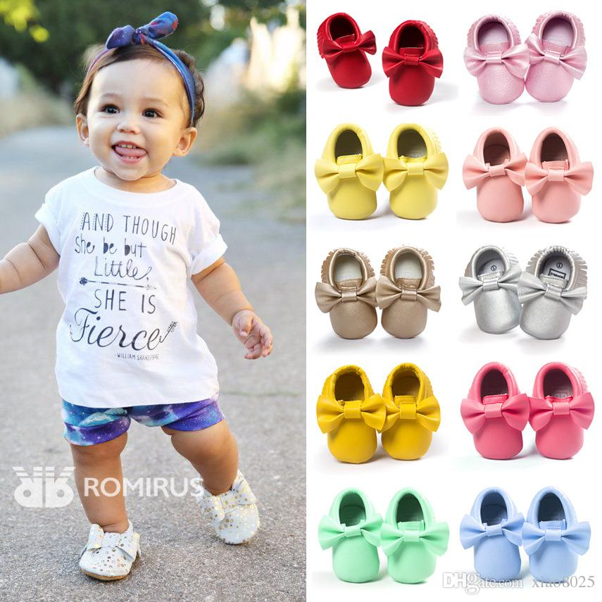 Hot sale New 16 colors fringe Bow PU leather Baby Moccasins shoes Boys Girls Toddler Soft Sole Infant Kids Shoes 0-2 years