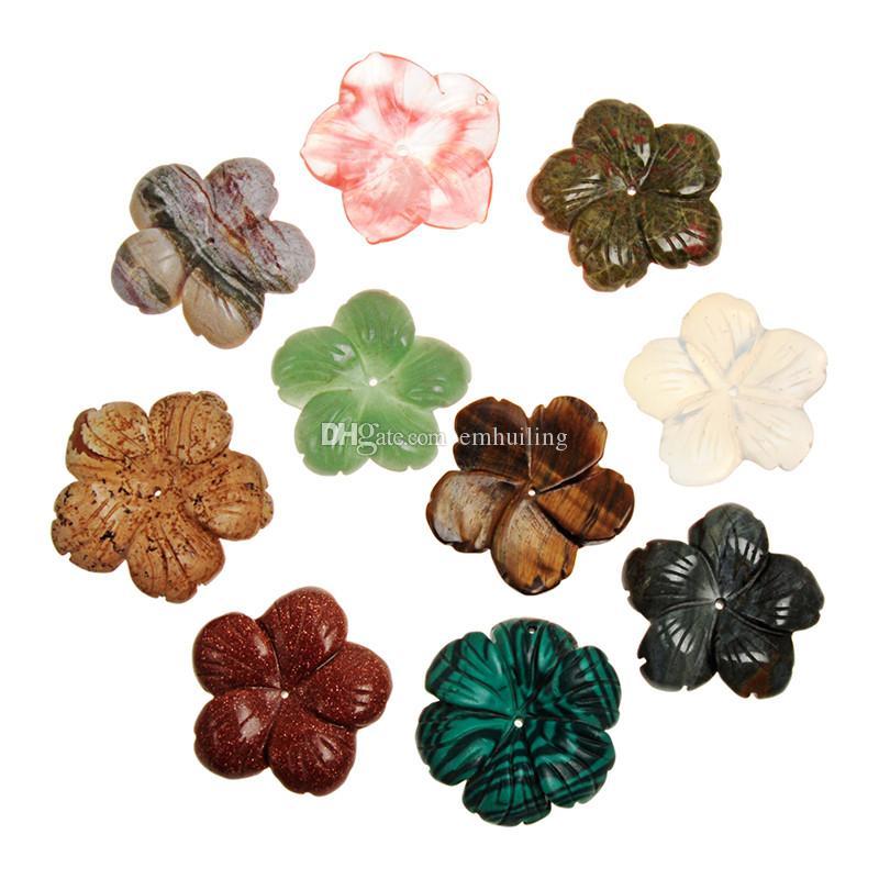 Charm Vintage Lady Çok tarzı Doğa Kristal Kar Tanesi Karışık Renk Jasper Akik Yeşim Delikli Delik Çiçek Kolye Takı Kadınlar için Yeni Yıl
