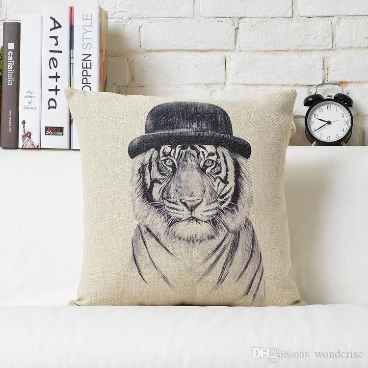 Hipster Chic Animals Tiger Lion Leopard Panda Bear Cushions Covers Hand Painting Animal Cushion Pillow Cover Decorative Linen Pillow Case