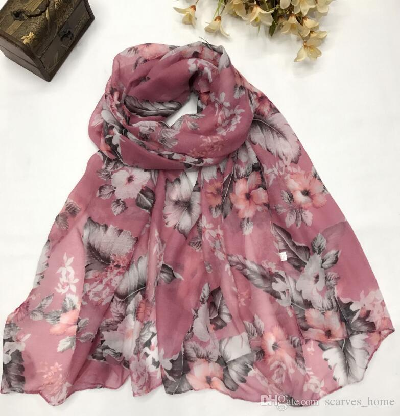 2017 New Design Retro Big Flower Fan Print Voile Cotton Infinity Scarf Fashion Circle Scarf Large Size Long Scaves Women Infinity Scarfs