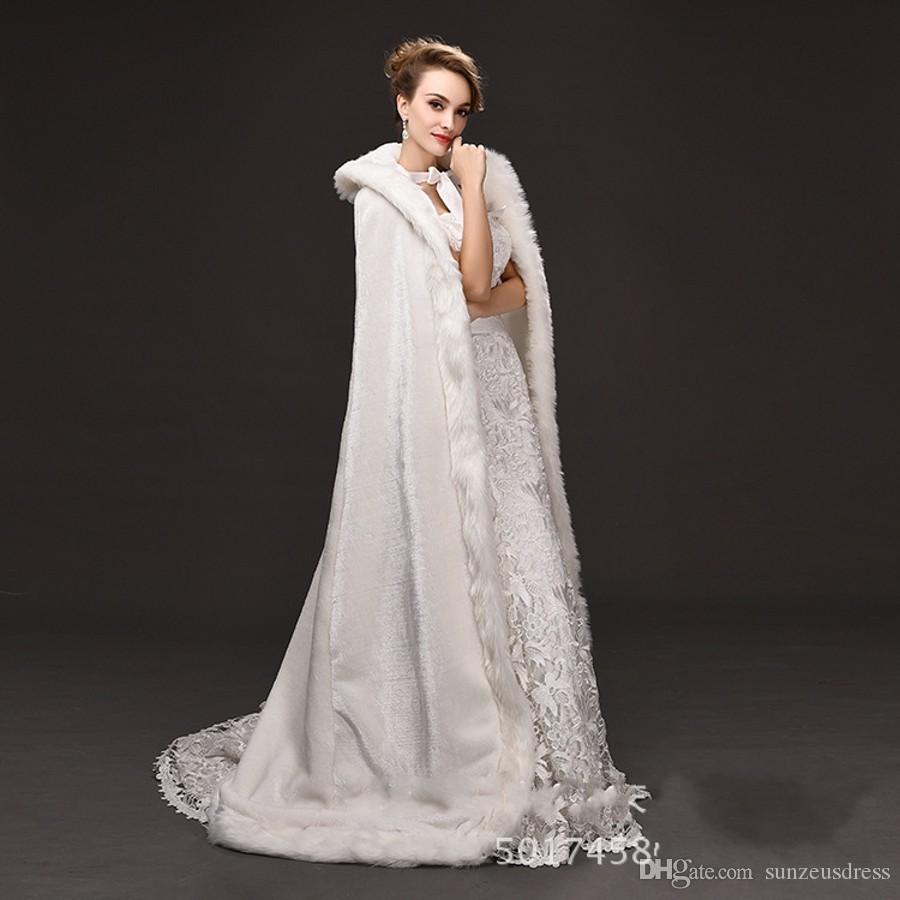 Lunghezza del pavimento Lungo da sposa Mantella in pelliccia sintetica con cappuccio Mantello invernale lungo Matrimonio Bolero longue cape de marie