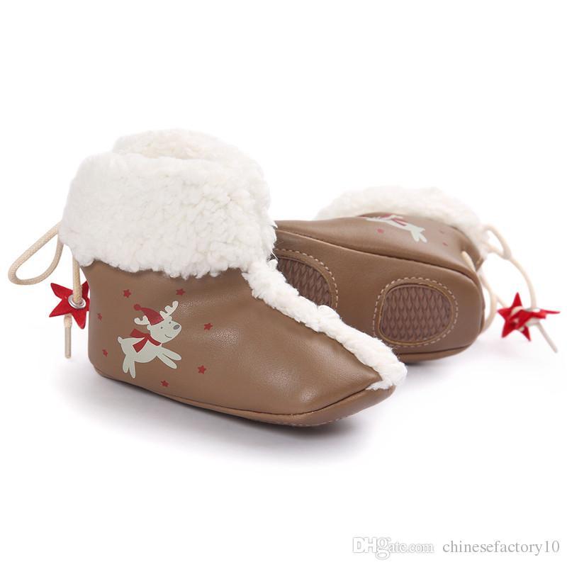 Newborn Baby Boys Girls PU Boots Christmas Deer Printed Stars Snow Boots Winter Warm Prewalker Soft Soled Back Lace-Up First Walker