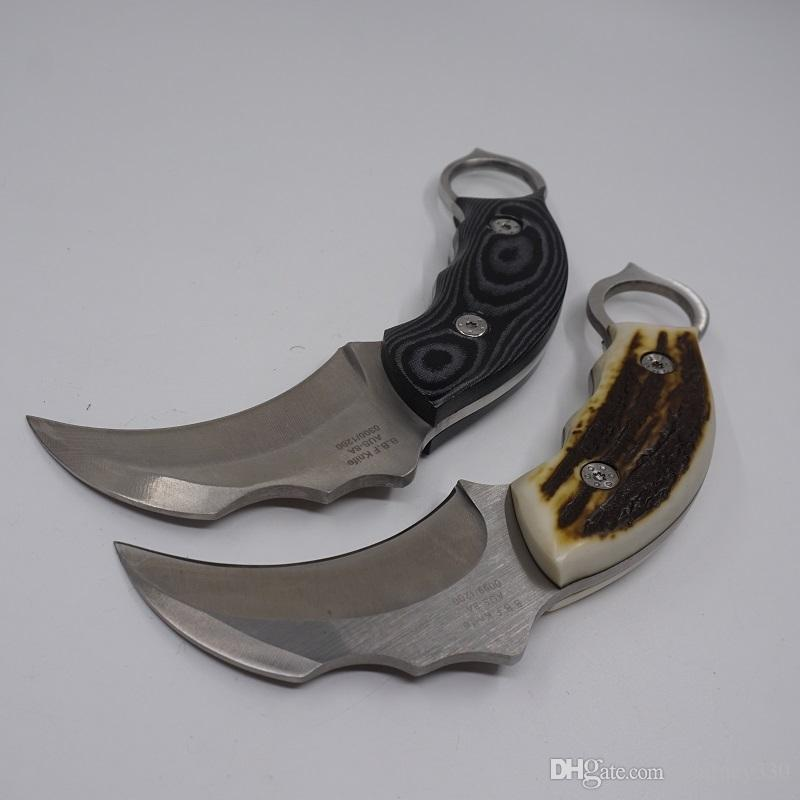 Outdoor Scorpion Claw Knife AUS-8A Balde Resin Micarta Handle Camping Survival Knives Fixed Blade Hunting Karambit Knife with Leather Sheath
