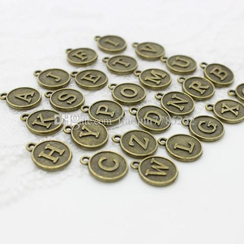 Sweet Bell Min order Three Colors round Alphabet A-Z Letter Tag Charms 12.5*15mmFor Jewelry Making Wholesale D0739