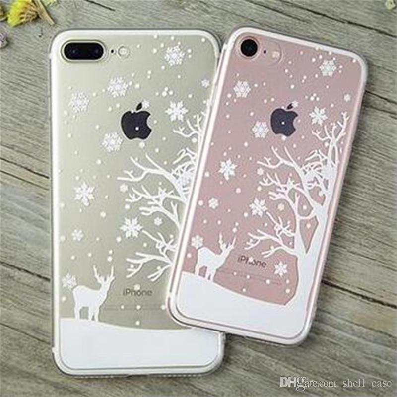 for iphone 7 clear tpu case snowflake christmas tree santa elk printing transparent soft cases covers for iphone 6 6s 7 plus christmas gifts create a cell