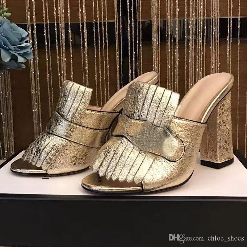 Fringe Slippers Wildleder Sommer Sandalen Frau Chunky Heels 10,5 cm Rutschen Damen Slipper Fashion New 2017