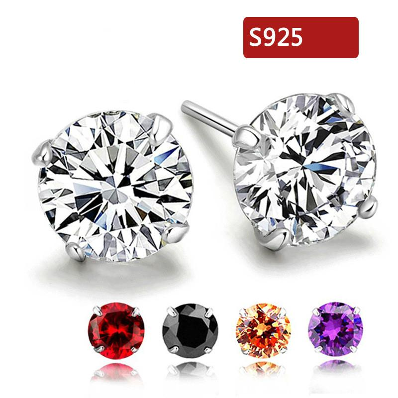 defb4dd93 Droplets Stud Earrings with Amethyst 100% 925 Sterling Silver ...