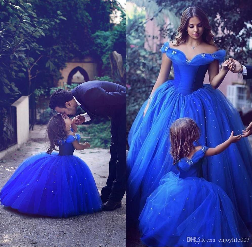 Großhandel 2017 Royal Blue Kleinkind Blume Mädchen Kleider Für ...