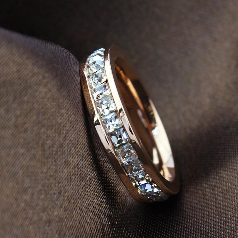 2018 One Row Crystal Ring Stainless Steel Square Diamond Rose Gold Wedding Rings Finger Band For Women Jewelry From