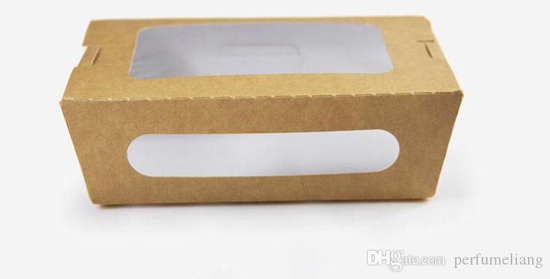 Best Oil Proof Food Grade Kraft Paper Box With Window Party Salad Box  JH37