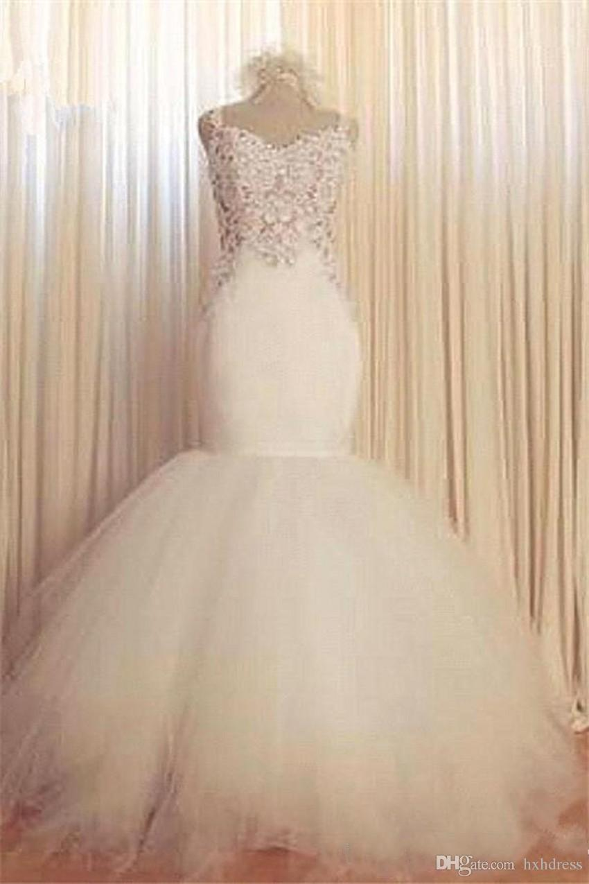 2020 New Arabic Glamorous Mermaid Goddess Lace Wedding Dresses Sweetheart Vintage Lace Sexy Backless Tiered Tulle Summer Bridal Gowns 383