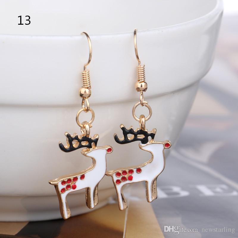 21 Stile Weihnachten Charm Ohrringe Silber / Golden Plated Dangle Strass Drip Paint Weihnachtsbaum / Schneeflocke / Bells / Deer Schmuck Dekoration