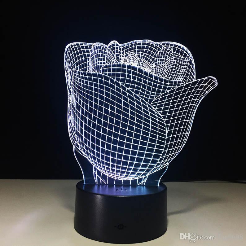 يوم الورود ضوء الليل هدية شخصية عيد الحب ديكور مصباح طاولة رؤية 3D الملونة جو لون ضوء 3D