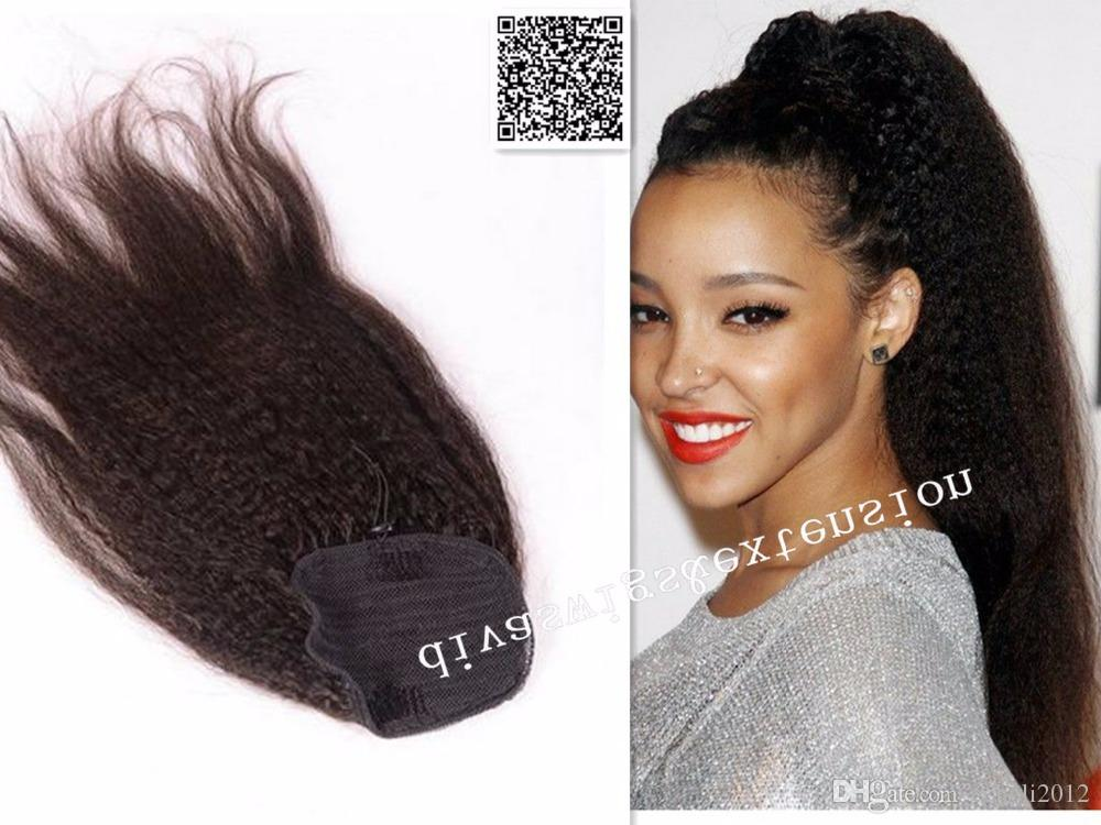 Dark Brown kinky straight Drawstring ponytail remy hair extension Clip coarse yaki kinky straight ponytail human hairpiece for black women