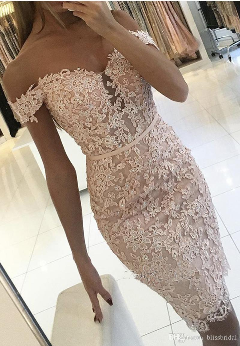 2017 New White Full Lace Homecoming Dresses Buttons Off-the-Shoulder Sexy Short Tight Custom Made Cocktail Dress Fast Shipping