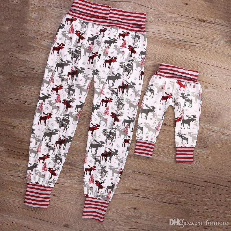 المولود الجديد الفتيات الصغيرات بنين الخريف السراويل الأم ابنة عيد الميلاد الأحمر الرنة طماق السراويل ضئيلة ملابس الرضع kidswear حرية الملاحة