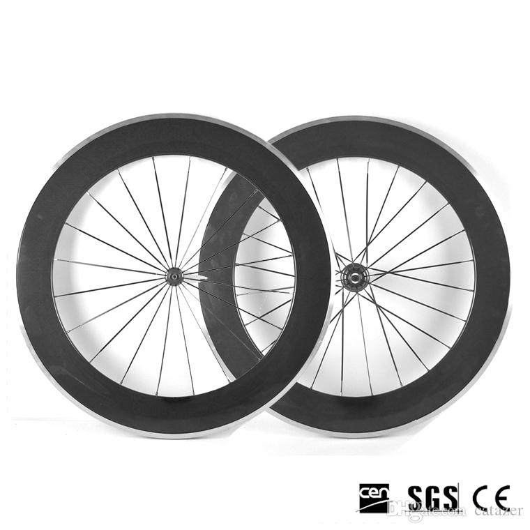 700C 88mm Carbon Bike Wheels 3K Glossy/Matte Clincher Road Bicycle Wheelset Alloy Aluminum Brake Surface With Novatec 271 Hubs