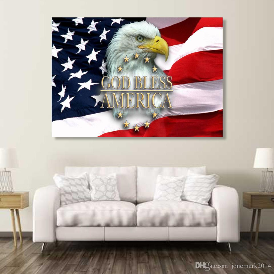 2018 Usa Flag Eagle Good Bless Wall Art Canvas Pictures