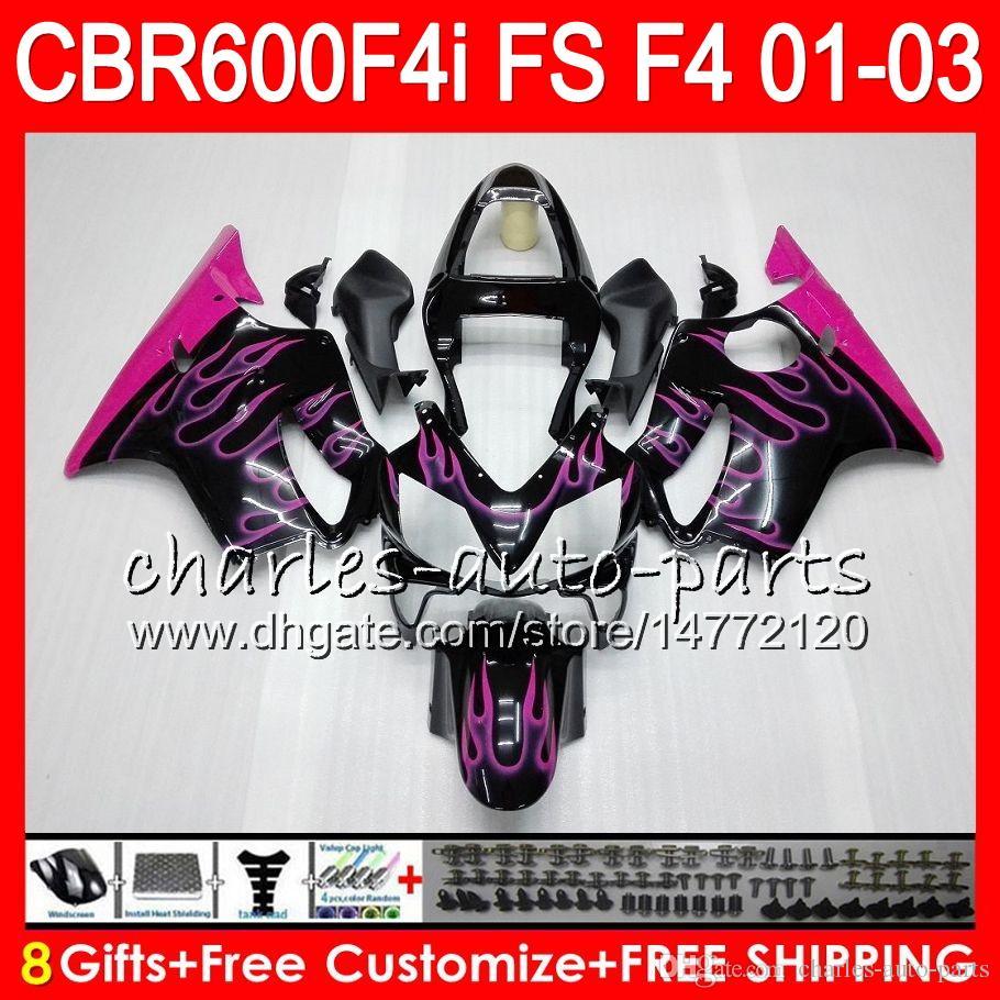 8 regalos Rosa llamas es para HONDA CBR 600F4i 01-03 CBR600FS FS 28NO74 CBR600 F4i CBR 600 F4i CBR600F4i 01 02 03 2001 2002 2003 carenado