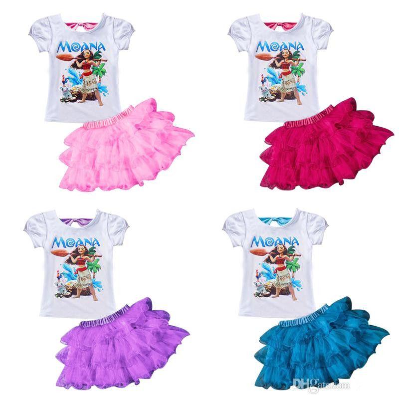 Großhandel Moana Baby T Shirt Tutu Kleid Anzüge Kleidung Sommer ...