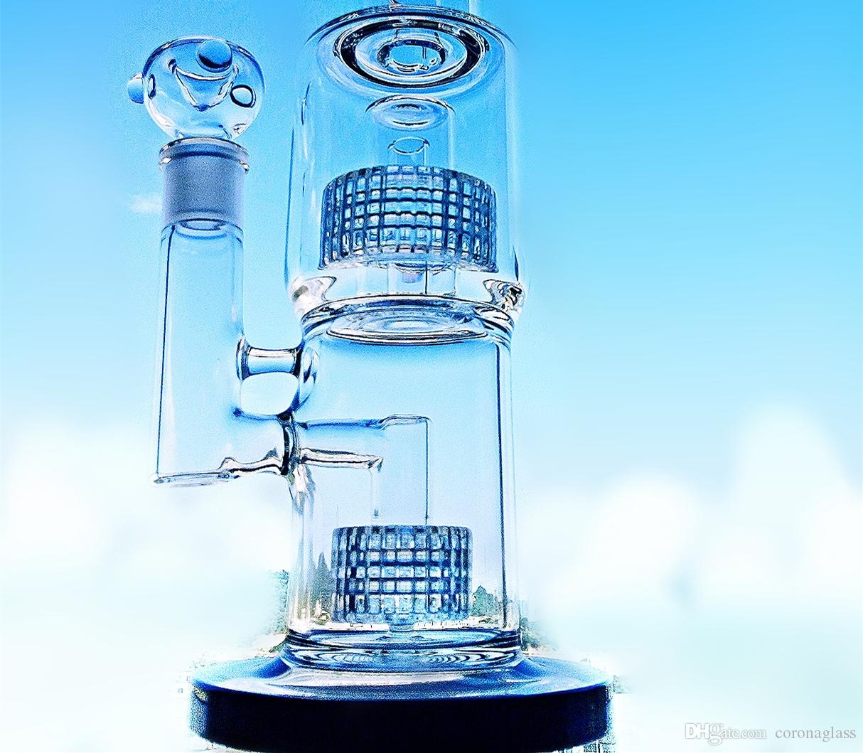 """Corona Colorful 16"""" Tall Glass Bong Special Coatings Color Honeycomb Filter Oil Rigs Glass Water Bong Water Pipe hookahs"""