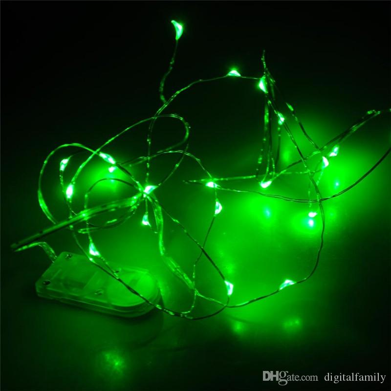 2M 20 LEDs led string CR2032 Battery Operated Micro Mini Lighting Copper Silver Wire Starry LED Strips For Christmas Halloween Decoration